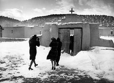"""By John Collier Jr. : """"Congregation leaving after mass. The church, San José de Gracia, was built in 1700 and is the best-preserved colonial mission in the Southwest.' Trampas, New Mexico. Santa Fe, New Mexico History, New Mexican, Land Of Enchantment, Great Shots, Vintage Photos, Places To Visit, Around The Worlds, Travel"""