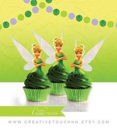 Toppers de Cupcake de Tinker Bell Tinkerbell por CreativeTouchhh