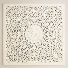 Hand carved in India, our white wall plaque makes a grand, globally inspired statement as a headboard alternative or a living room focal point. >> #WorldMarket Boho Eclectic