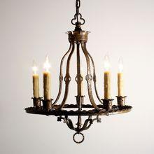 Handsome Antique Gothic Revival Five-Light Cast Brass Chandelier