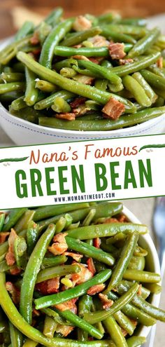 My Nana's Famous Green Bean recipe! Made with just a handful of ingredients including bacon, this easy side dish makes a delicious addition to any meal! Diabetic Side Dishes, Side Dishes Easy, Vegetable Side Dishes, Side Dish Recipes, Vegetable Recipes, Easy Dinner Recipes, Southern Side Dishes, Simple Recipes, Free Recipes