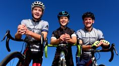 Mike Broadbent, right, poses with his sons Jason, center, and Dallen outside their North Logan, Utah, home. The three cyclists will participate in LoToJa on Saturday. (Portrait by John Zsiray)