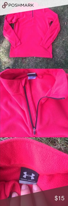 Red under armour 1/4 zip fleece men's large tall Some wear from previous use. No stains or holes. For a tall guy and very comfy. Under Armour Shirts Sweatshirts & Hoodies