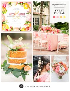 Bright watercolor hues and sugary sweet shades of coral, peach, and pink, pair perfectly with lemon yellow. Play up the flowers at youreventand incorporate them into every detail, from your hair to your cake.