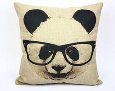 Panda pillow cover, Modern minimalist pencil sketch glasses panda animal cotton linen throw pillow cushion cover pillowcase/home decor