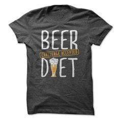 Beer Diet Challenge Accepted funny beer t-shirt. Great gift idea for the beer lover as well. Other funny beer drinking t-shirts and hoodies and hoodies available in a variety of colors and styles. Great shirt to wear while relaxing on the weekend after a long work week. This would also make a great Christmas or birthday gift for beer lovers.