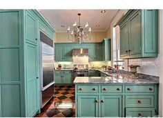 This kitchen is amazing!!! Turquoise painted cabinets half baths, beds, floors, blue decor, blue kitchenvintag, gourmet kitchens, blue kitchens, shade, dream kitchens