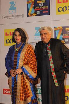 Javed Akhtar and Shabana Azmi on the Red Carpet at the Lux Cozi Zee Cine Awards 2014. Ashok Todi, Priyanka Todi and Pradeep Kumar Todi attended the event as Title Sponsors.