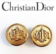 69b6f8a68f02 Christian Dior Earrings -SUPERB Vintage 1980s Unworn Christian Dior  Medallion Clip on Logo Earrings
