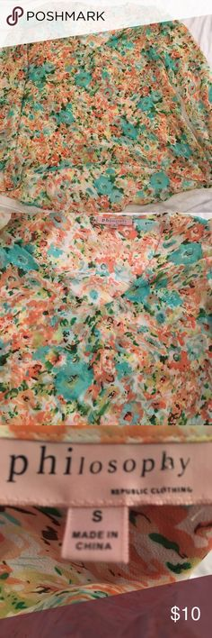 """Sheer floral blouse philosophy women's small Women's philosophy blouse Size small Floral Sheer enough you would need an undershirt Back hangs lower than the front Chest is 19"""" Back length is 27"""" Front length is 15"""" from neckline Philosophy Tops Blouses"""
