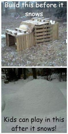 Pallet Igloo Before/After : Pallet Igloo ! you guys should sooo do this for next years winter!Before/After : Pallet Igloo ! you guys should sooo do this for next years winter! 1001 Palettes, Fun Crafts, Crafts For Kids, Baby Crafts, Snow Fun, Winter Fun, Outdoor Play, Outdoor Pallet, Kids And Parenting
