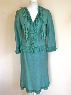 Luisa Spagnoli Jade Green Linen Waterfall Jacket And Skirt via The Queen Bee. Click on the image to see more!