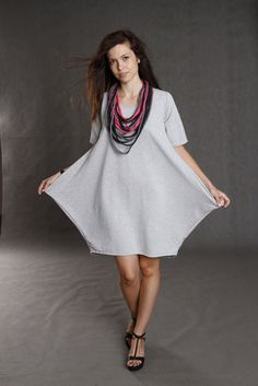 grey corn + dzianinowy naszyjnik - kukadesign - Sukienki midi