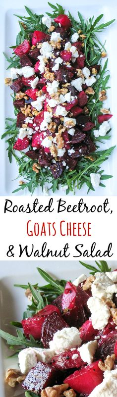 Roasted Beetroot Salad with Goats Cheese & Walnuts Roasted Beetroot, Goats Cheese & Walnut Salad. A Great main course salad. Vegetarian Recipes, Cooking Recipes, Healthy Recipes, Ham Recipes, Healthy Tips, Vegetarian Christmas Recipes, Walnut Recipes, Cooking Corn, Juicer Recipes