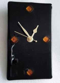 Black fused glass wall clock £37.00