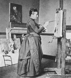 Anna Boch, at work in her own studio