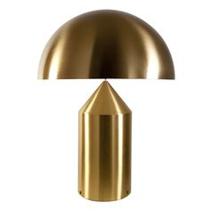 Lampe de table grand modèle dans la collection Atollo, réalsée en aluminium laqué or et équipée d'un variateur d'intensité lumineuse. C'est une icône: l'un des meilleurs symboles du design ita...