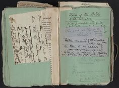 """""""Notebook on an Intended Dictionary."""" Bound manuscript written on wrappers from the 1855 edition of 'Leaves of Grass.' Courtesy The Library of Congress"""