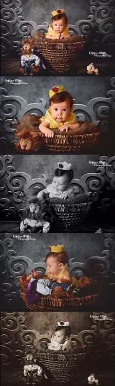Beauty and the beast photoshoot, belle photo session, studio photography, picture, pic, pics, Disney inspired, Princess, princesses, beast, tale as old as time, Mrs. Potts, chip, vintage, Prince, crown, baby, newborn, 3 months, girl, kid, child