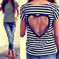 Striped T-Shirt with Heart Cut Out Black and white striped short sleeve t-shirts with a large heart cut out of the back. Made of polyester. Measurements in inches are bust 33.07, length 22.05 and sleeve length 6.30.  Classy and elegant! Tops Tees - Short Sleeve