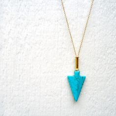 Turquoise Necklace - Arrow Pendant - Gold - Native American. $45.00, via Etsy.
