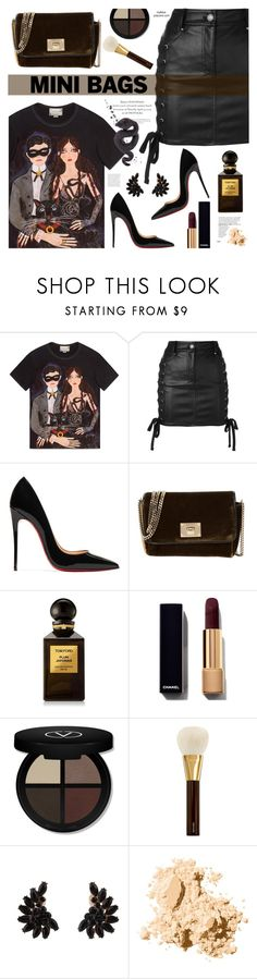 """""""Mini Bags"""" by mylkbar ❤ liked on Polyvore featuring Gucci, Versus, Christian Louboutin, Jimmy Choo, Tom Ford, Bobbi Brown Cosmetics, Lydia Courteille and minibags"""