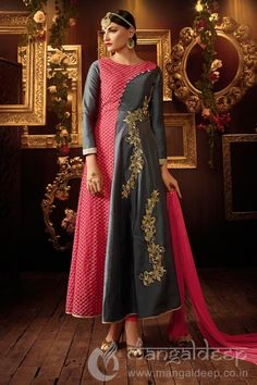 Sightly Metalic Grey Silk And Georgette Designer Anarkali Dress. For more information :- Call us @+919377222211 (Whatsapp Available)
