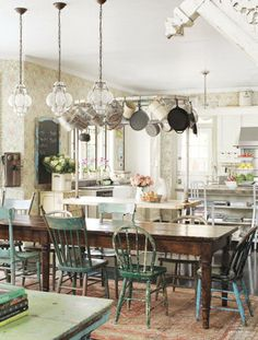 Farmhouse table with mismatched chairs...love. Right @Katherine Nalywaiko and @Tracey Nephew