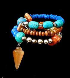 BoHo Beaded Bracelet - Chunky Stacked Bracelet- - Gemstones - Turquoise - Lapis Lazuli- Silver Metal Beads -The Joy Moos Collection Tribal Bracelets, Memory Wire Bracelets, Stackable Bracelets, Bohemian Bracelets, Handmade Bracelets, Fashion Bracelets, Jewelry Bracelets, Wire Jewelry, Boho Jewelry