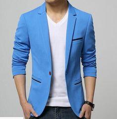 Mens Korean slim fit fashion cotton blazer Suit Jacket black blue beige plus size M to 6XL Male blazers Mens coat