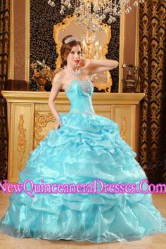 A Baby Blue Sweetheart With Organza Appliques Simple Quinceanera Dresses