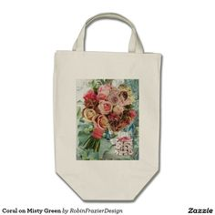 Coral on Misty Green Tote Bag