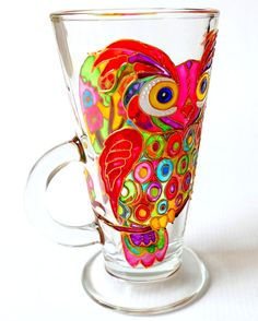 Colorful Owl Coffee Mug, Hand Painted Glass Mug, Coffee Mug, Painted Glass, Owl Tea Mug, Birthday Gift Idea, Table Decor, Kitchen Decor