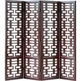 ANY ROOM Wayfair - Double Happiness 4 Panel Room Divider in Distressed Dark Brown