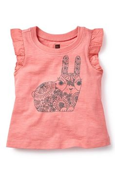 Tea Collection 'Kharagosa' Flutter Sleeve Tee (Baby Girls) available at #Nordstrom
