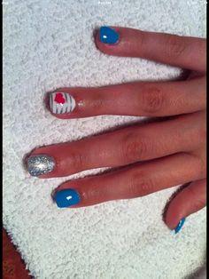 Blue glitter stripe heart nails Nails by Missy