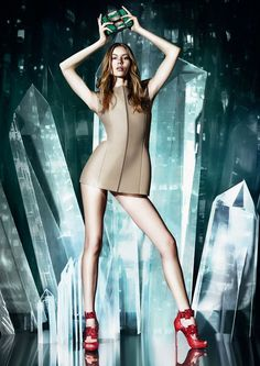 Jimmy Choo Cruise 2015--Landing her first campaign for Jimmy Choo, model Ondria Hardin goes pantsless for the shoe and accessories label's cruise 2015 adve