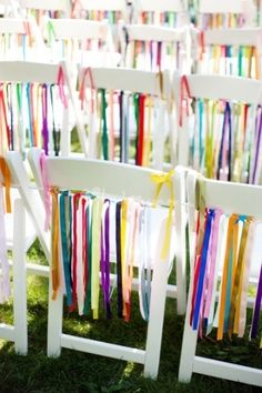 Ribbon on seating for wedding reception! This is fun! I think I would do my wedding colors though Diy Wedding, Wedding Events, Dream Wedding, Weddings, Wedding Ideas, Wedding Reception, Rainbow Wedding, Wedding Chairs, Event Decor