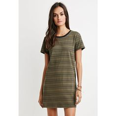 Forever 21 Cutout-Back Striped T-Shirt Dress ($13) ❤ liked on Polyvore