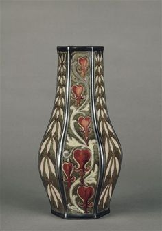 Emile Galle – Hexagonal Vase decorated with Bleeding Hearts , C. 1885-1889
