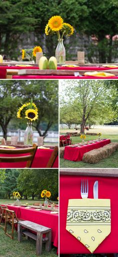 Hoe Down Work Party- country themed party - tables------ sunflowers as centerpieces though>> Country Themed Parties, Country Birthday Party, Barn Parties, Western Parties, Farm Birthday, Farm Party, Bbq Party, Country Hoedown Party, Country Party Decorations