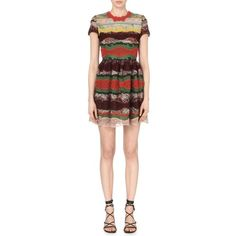 VALENTINO Embroidered cotton-blend mini dress ($5,630) ❤ liked on Polyvore featuring dresses, multicolour, a line mini dress, valentino dresses, red embroidered dress, red short sleeve dress and short red dress