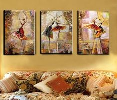 Abstract Art, Ballet Dancer Painting, Canvas Painting Set, 3 Panel Wall Art – Silvia Home Craft 3 Piece Canvas Art, 3 Piece Wall Art, Canvas Wall Art, Large Canvas, Bedroom Canvas, Buy Canvas, Bedroom Wall, Large Painting, Hand Painting Art