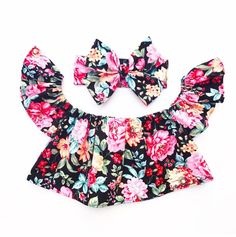 Kids Toddler Infant Baby Girls 2Pcs Floral Outfits Clothes Off Shoulder Floral Tops Bowknot Headband