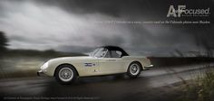 Vintage Ferrari 250 GT Cabriolet by Pininfarina makes its way across the rainy plains of Colorado