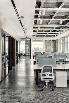 Ajinomoto Office by Studio 13 Architects - Office Snapshots Open Office Design, Industrial Office Design, Corporate Office Design, Office Interior Design, Office Interiors, Industrial Loft, Loft Office, Office Plan, Office Ideas