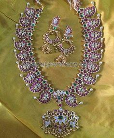 Silver Mango Necklace with Jhumkas - Jewellery Designs