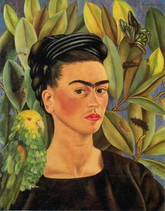 "lonequixote: Frida Kahlo Self Portrait. - lonequixote: "" Frida Kahlo Self Portrait with Bonito "" Frida E Diego, Diego Rivera Frida Kahlo, Frida Art, Frida Kahlo Artwork, Frida Kahlo Portraits, Frida Paintings, Freida Kahlo Paintings, Mexican Artists, Naive Art"
