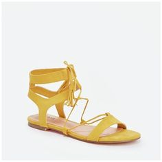 Justfab Flat Sandals Reelika (£19) ❤ liked on Polyvore featuring shoes, sandals, yellow, lace up sandals, platform sandals, lace up flat sandals, ankle strap flat sandals and yellow flats