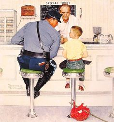 """Another one by Norman Rockwell titled """"The Runaway"""""""